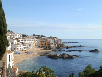 Calella de Palafrugell view across Port Bo from the promenade