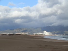 View to Empuriabrava with stormclouds