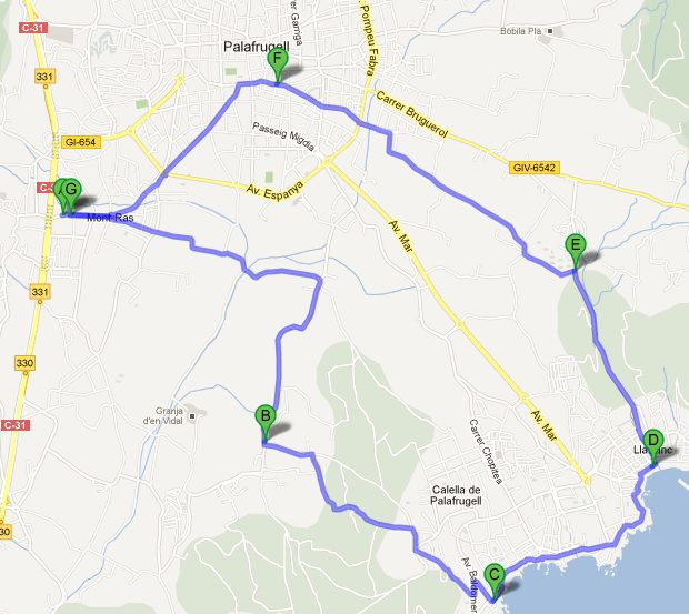 Walking route from Mont-ras to Calella de Palafrugell and Llafranc on the Costa Brava and back via Palafrugell