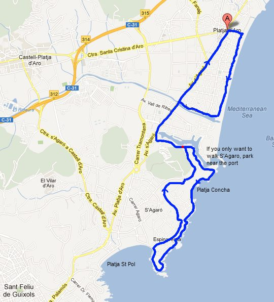 Walking route for Platja dAro to sAgaro Costa Brava